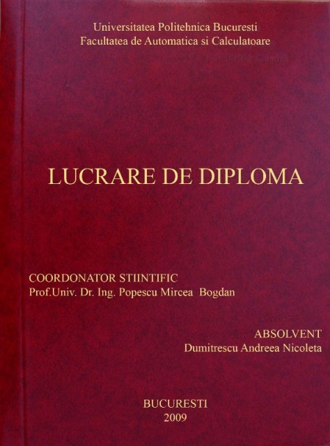 Coperta Unei Lucrari De Dissertation